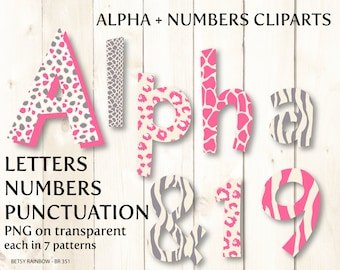 Pink alphabet clip art, animal skins, digital letters and numbers, letter clipart, number clipart,  Scrapbook supplies  - BR 351