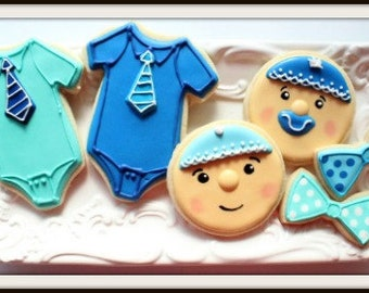 Custom Decorated Baby Boy Baby Shower Cookies