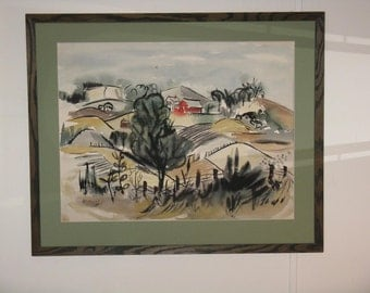 Vintage original watercolor painting large framed and matted landscape barn trees farm land rolling hills