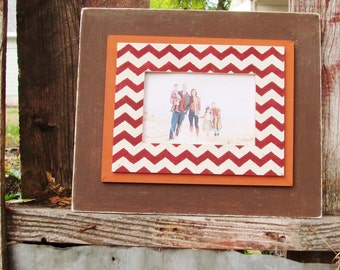 5x7 Distressed Frame in Brown with Red Chevron and Orange Trim