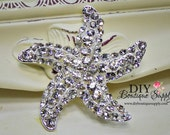 Starfish Brooch Rhinestone Crystal Brooch Star Fish Embellishment Beach Wedding Bridal Accessories Brooch Sash Pin 50mm 656133