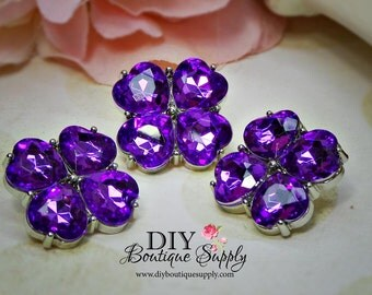 PURPLE Crystal Buttons Rhinestone Buttons 23 mm Acrylic Rhinestone Embellishments Flower centers  Scrapbooking Headband Supplies 571035