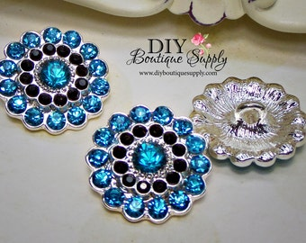 Turquoise and Black Rhinestone Buttons - Metal Embellishment - Blue Crystal Buttons Headband Supplies flower centers - 22mm 626044