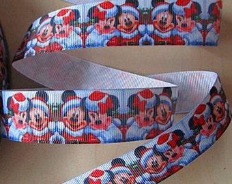 5 YDS Santa Mickey and Minnie Holiday Ribbon