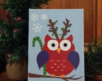 Set of Two Christmas Owls Painting