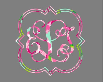 Monogram Decal, Car Monogram, Quatrefoil Monogram Decal