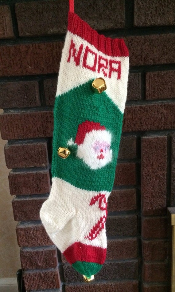 Knit Pattern For Christmas Stocking Kit : Kit for Vintage Personalized Hand Knit Santa in by ...