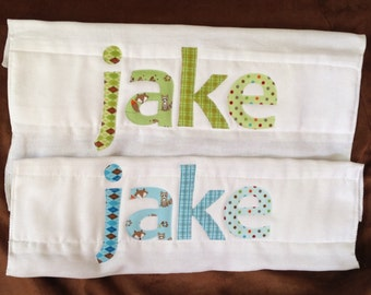 Set of 2: Custom Burp Cloth Pair Baby Name Applique Personalized Burp Cloth Boutique Shower Gift