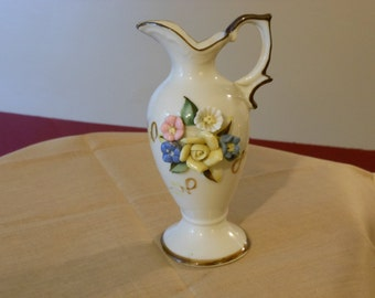 Small Decorative Pitcher with Flowers