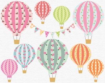 Digital Hot Air Balloon Clip Art, Shabby Floral Clipart, Hot Air Balloon Clipart, Pink Rose Pattern, Digital Bunting Clipart, Gingham