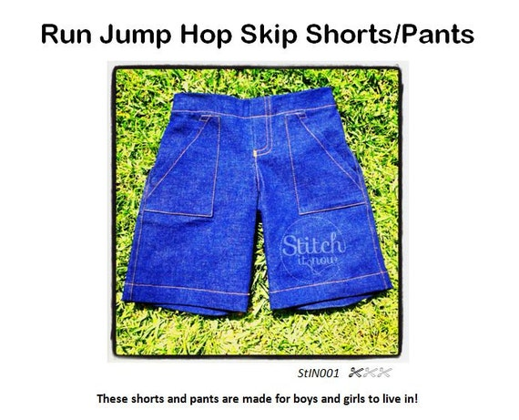 Run Jump Hop Skip Short/Pants Pattern - Children sizes 1-10 - Instant download to digital PDF sewing pattern.