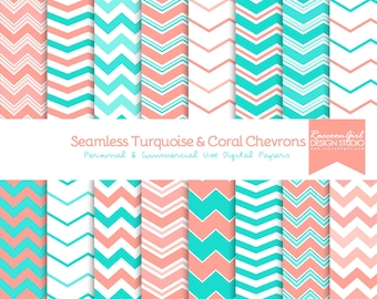 Seamless Turquoise and Coral Chevron Digital Paper Set - Personal & Commercial Use