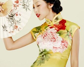 Mandarin Peony Cheongsam Dress