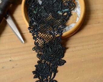 Black Collar Lace, Black Lace Applique, Lace Applique For Necklace, Black Lace Collar Applique