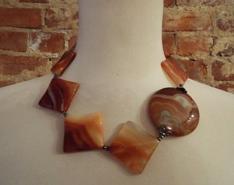 Substantial Chunky Bold Carnelian Statement Necklace