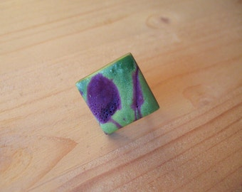 Purple and green polymer clay ring