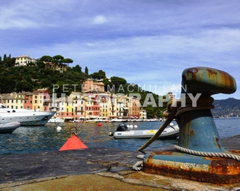 Spectacular Habour View Of Local Fishing Boats & Yachts In Portofino - Italy