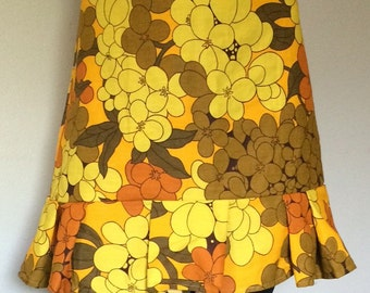 70's Orange and Yellow Flowers  pleated Skirt