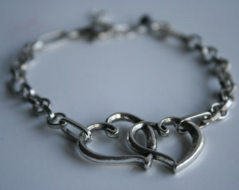 Hearts Joined Silver Chain Bracelet 7""