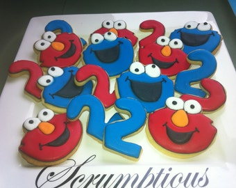 2 dozen Elmo and Cookie Monster cookie platter
