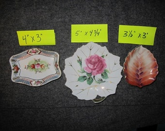 Three trinket holders Marked Occupied Japan, Shofu China Made in Occupied Japan, Hand Decorated Japan