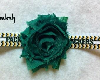 Green Bay Packers Baby Girl Shabby Flower Headband