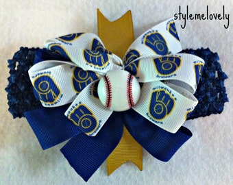 Milwaukee Brewers Baby Girl Boutique Bow Crocheted Headband