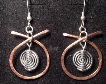 Hammered copper earrings wire wrapped beads silver hoop earrings Zen asian earrings