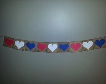 Patriotic Hearts Banner , 4th of July Banner , USA Banner , USA Bunting , Red White and Blue Banner ,4th of July Decor , Patriotic Bunting