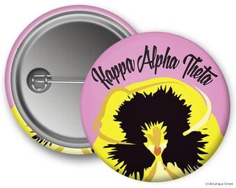 KAO Kappa Alpha Theta Peeking Pansy Sorority Button