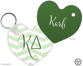 KD Kappa Delta Chevron Heart Keychain Sorority Personalized
