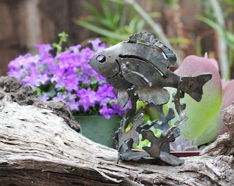 miniature Bluegill fish metal art sculpture for the garden, fish garden art, fishing metal art, 3D sculpture, made in the USA
