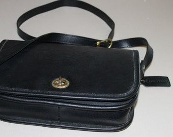 Coach, Vintage, black, Purse with long Handle, Crossbody, Handbag, Sturdy Leather Bag,