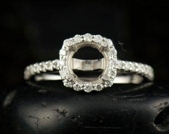 Kylie - Diamond Halo Engagement Ring Semi-Mount for 6-6.5mm Cushion or Round Center in White Gold, Fit-Flush Design, Free Shipping