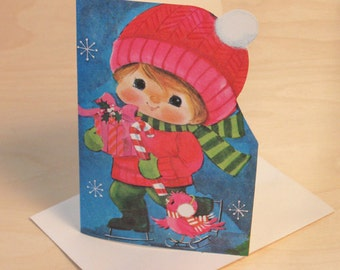 Vintage Christmas Originals Holiday Ice Skater Greeting Card with Envelope & One Seal