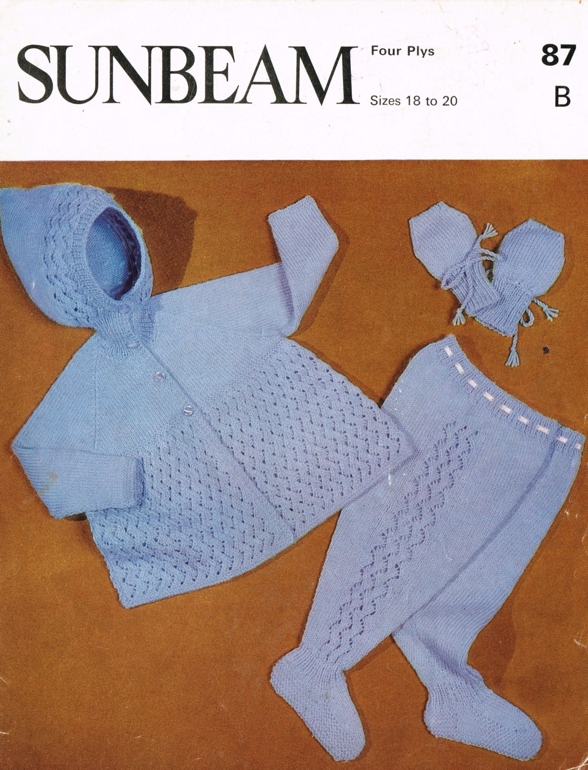 Sunbeam Knitting Patterns : Sunbeam 87 baby pram suit vintage knitting pattern PDF