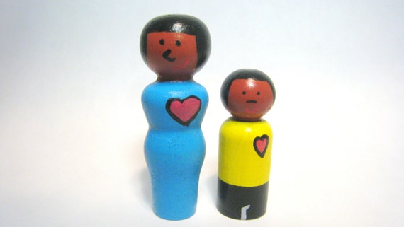 Mother and Son Peg People Single Mother Peg Family