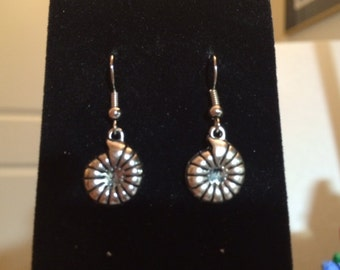 Antiqued silver shell earrings