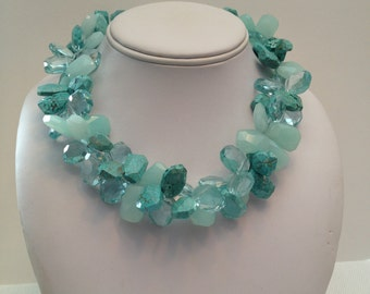 "Multi strand statement necklace, turquoise, jade, crystal adjustable 18-23"""