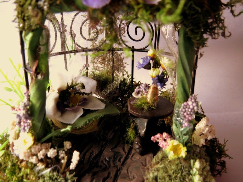 OOAK Miniature Enchanted Fairy House Garden Gazebo