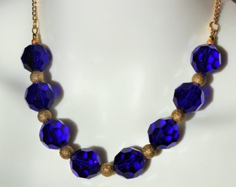 SALE: 30.5 Inch Faceted Royal Blue Glass Bead Necklace with Gold Dusted Accents on a Gold Chain