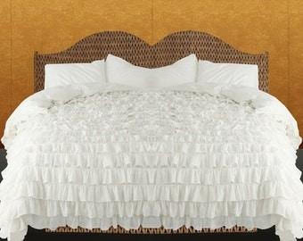 Cristimas Offer 100%   Egyptian Cotton  Ruffle Duvet Set -  White solid  Color choose  Size