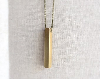 Heavy Brass Bar Necklace ~ Long Minimal Industrial Vertical Brass Bar Necklace ~ Two Sizes
