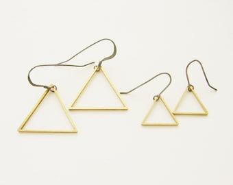 Triangle drop earrings, geometric jewelry, brass jewelry, geometric triangle dangle earrings