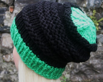 Hand Knit Hat- Womens hat- Slouchy- Beanie hat- green and black- chunky- winter hat- Womens Accessories