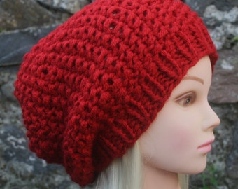 Red hat Hand Knit Hat Womens Hat Red Slouchy Beanie hat Red chunky winter hat- Womens Accessories