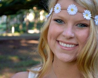 Small Boho Daisy Flower Crown, Bachelorette Party Flower Crown, Sorority Flower Crown,  White Daisy Headband, Hippie Headband, Festival Wear