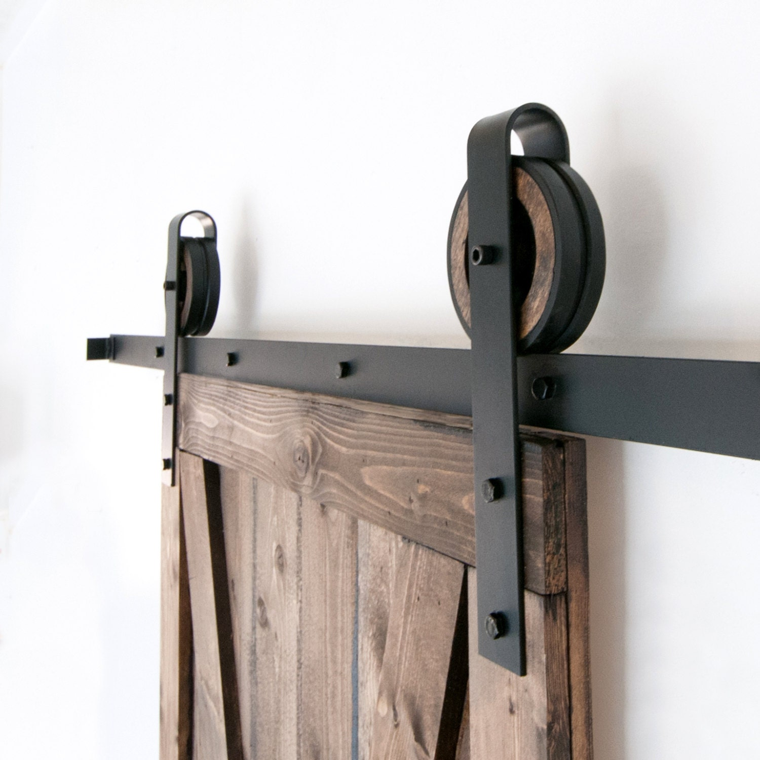 Wide strap rustic sliding barn door closet hardware set for Rustic hardware barn doors
