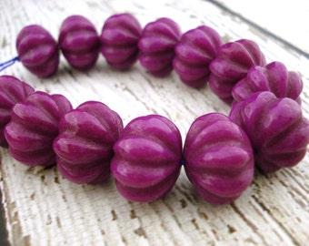 Purple Carved Pumpkins, Dyed Jade Beads, 18mm x 13mm, Halloween or Fall Pumpkin Beads
