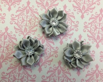 "1.5"" Silver Mini Satin Flowers  with Rhinestone Center - 3 Pieces-Baby Headband-Girl-Brooch-Applique-Clippie"